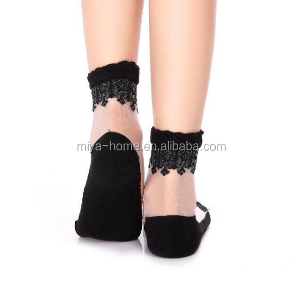 Colorful Lady Girl Women Lace Ruffle Socks / Mesh Ankle High Socks