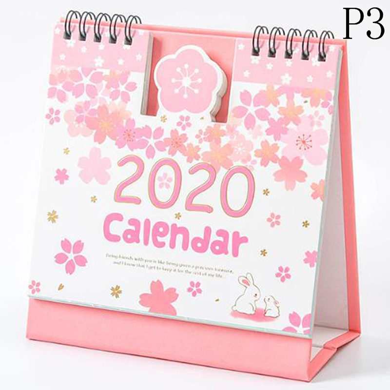 2020 мини портативный Настольный календарь ежедневник календарь милый мультяшный хомяк вишневый цвет катушка календарь 2020,09-2020,12(Китай)