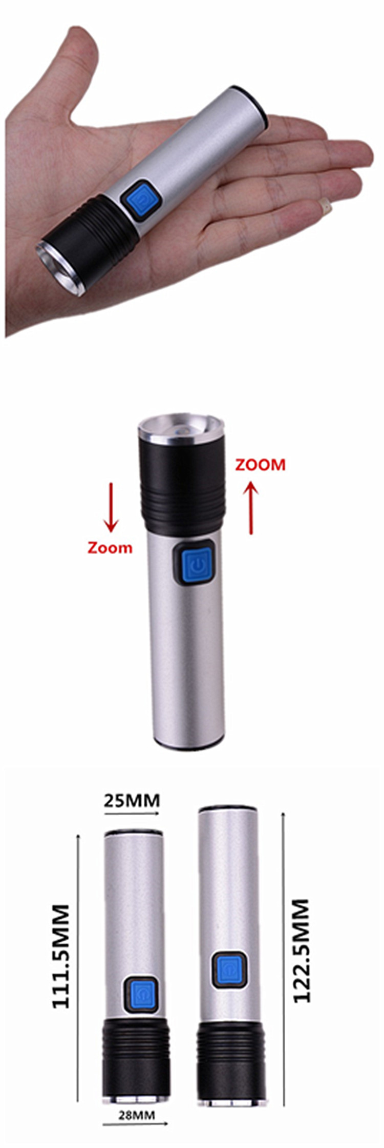 Portable Q5 5W cheap Waterproof Mini Torch Built in battery zoomable USB Rechargeable Mini FlashlightS