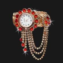 Роскошные женские Стразы, круглый циферблат, аналоговые кварцевые часы с открытым браслетом(Китай)