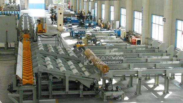 Hanvy Log Material Cut off saw Linie mit schritt deck für sperrholz fabrik und sägewerk