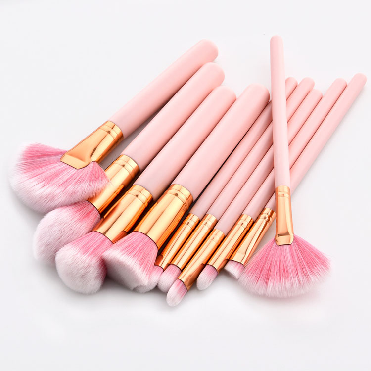 10 adet pembe makyaj fırça seti makyaj