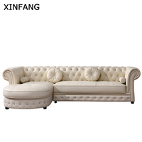 Latest Home Fuinture Italy Style chesterfield l shape sofa corner sofa with cheap price