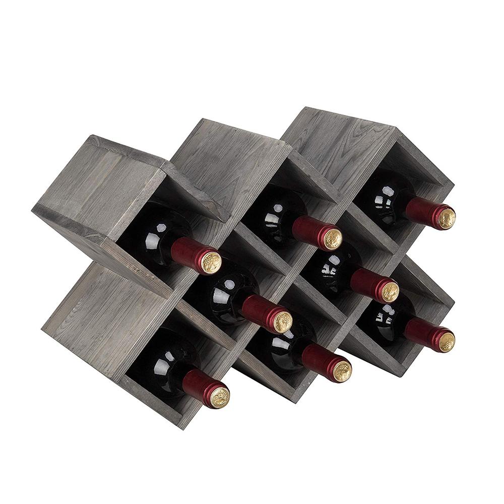 רב-פונקציה עץ יין בקבוק אחסון מדף לבר KTV בציר אפור השיש עץ 8-בקבוק יין מתלה יין ארגונית