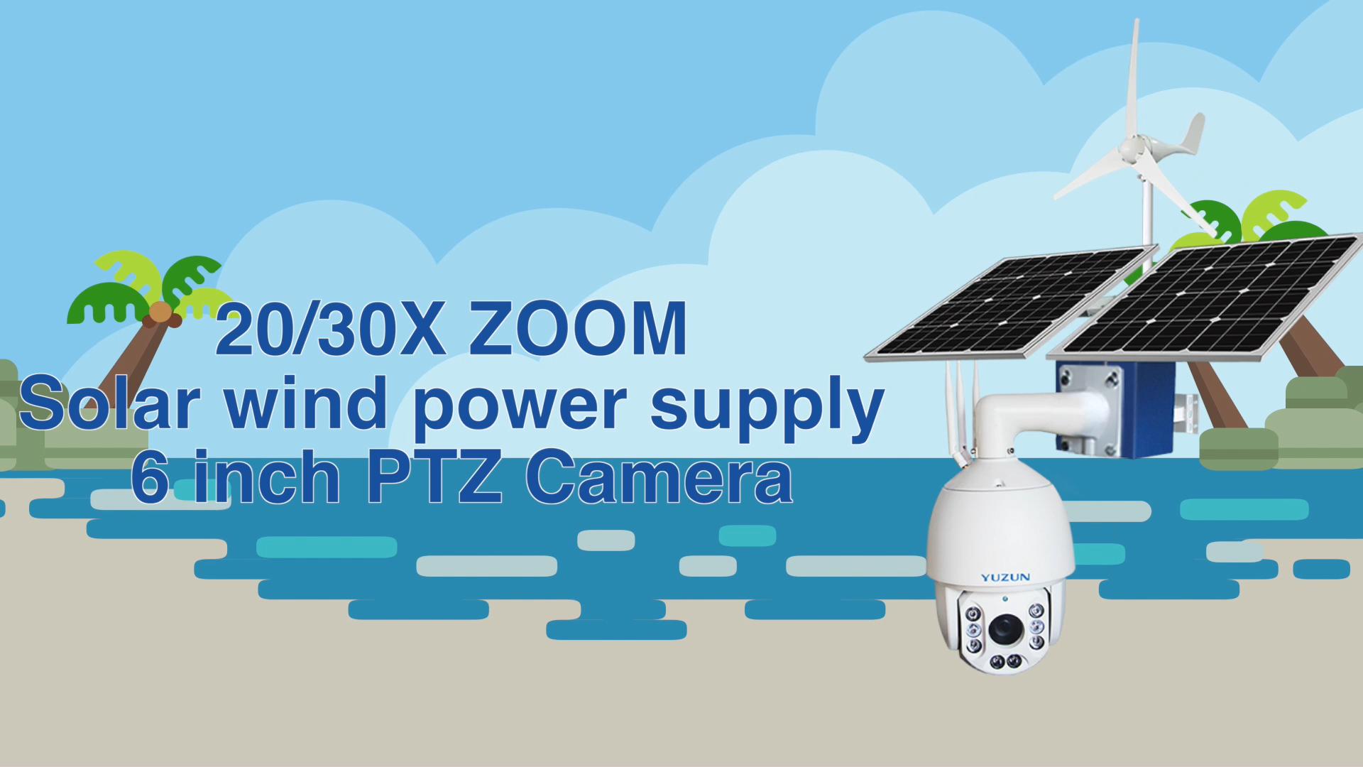5mp20x لاسلكية نظام مراقبة الأمن AI humanoid الاعتراف 2mp 30x في الهواء الطلق الطاقة الشمسية طاقة الرياح 4g PTZ 360 درجة HD كاميرا
