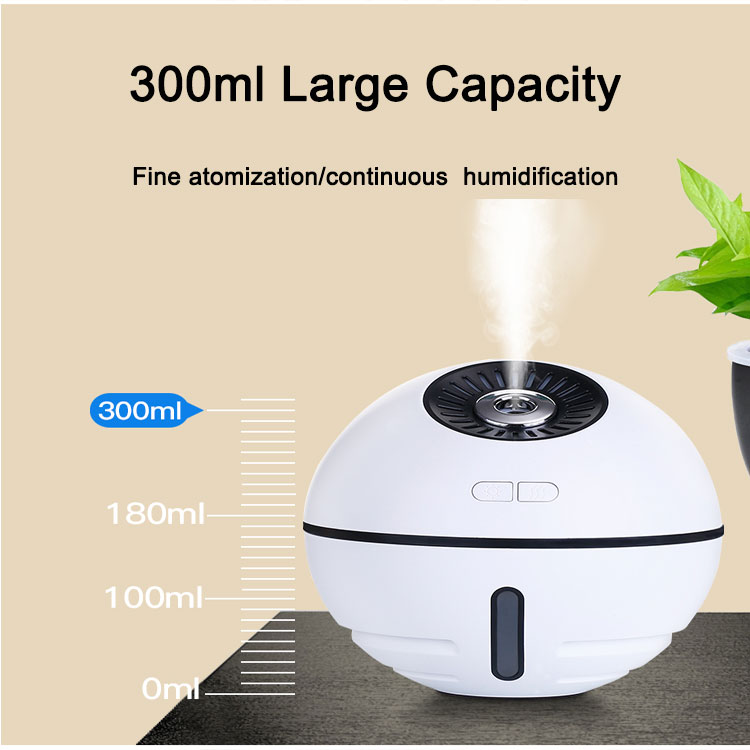 Battery Recharge Air Ultrasonic Humidifier 2019 Mini Space Ball Humidifier With Light Fan And Night Light