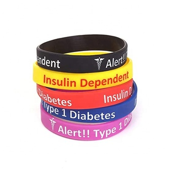 High quality Cheap Customize 5 Pack Type 1 Diabetes Bracelet for Men Women Silicone Medical Alert ID Wristbands 7.5""