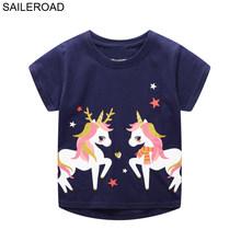 SAILEROAD Животное Альпака Аппликация Футболка для девочек Хлопковая одежда для малышей Розовые цвета Детские топы для девочек Майки Футболки ...(Китай)