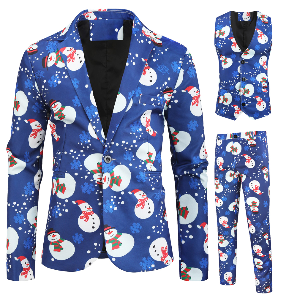 hot sale men blazer christmas slim fit blue flower boys <strong>formal</strong> <strong>suits</strong> 3 pieces