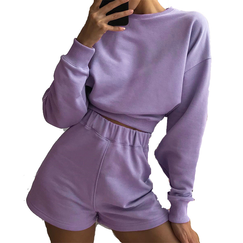 Womens Tracksuits 2 Piece Set Summer Autumn Sweatshirt + Sporting Shorts Sweat Set Two Piece Outfit Solid Color Sets