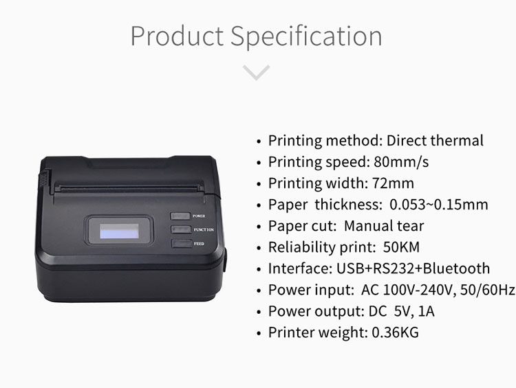 Kecepatan Tinggi Ponsel Bluetooth Portable Mini Printer Thermal Printer Label Pembuatan