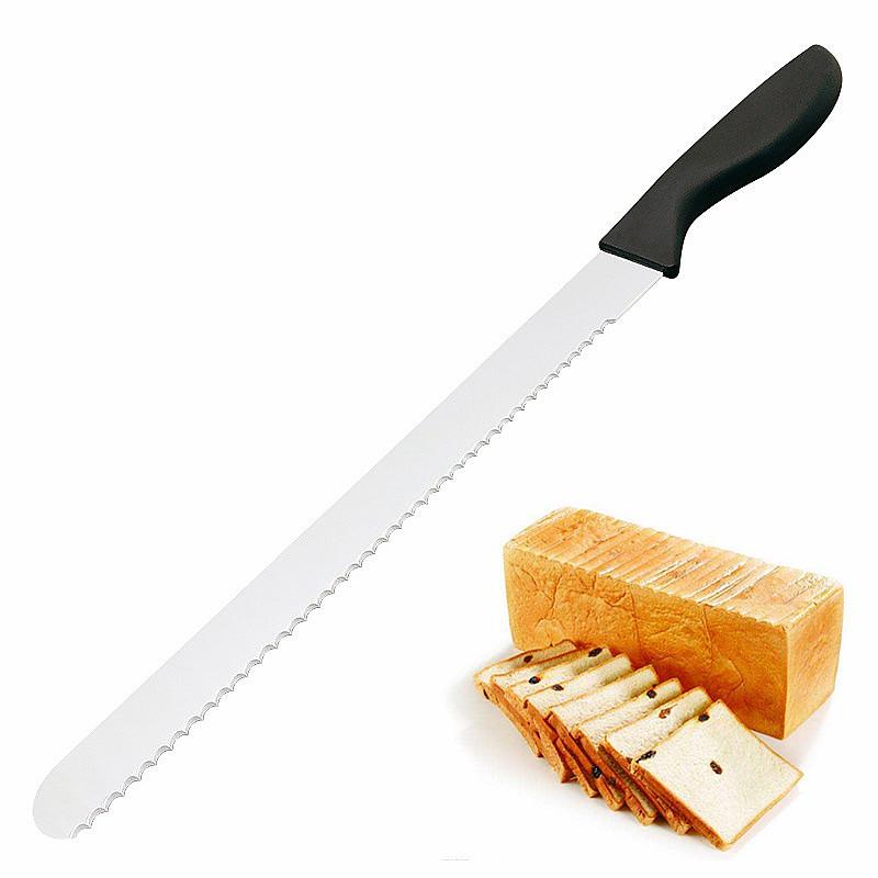Amazon Dapur Grosir Murah 10 12 14 Inci Panjang Stainless Steel Serrated Pisau Roti Ham Kue Roti dengan Pisau Plastik menangani