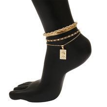 4 шт./компл., блестящие стразы, подвеска на ногу, браслет, набор, блестящие хрустальные цепочки, сандалии, пляжные украшения для женщин(Китай)