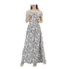Custom spring Elegant Women's Clothing Strapless straps Leaf Print Casual Long Dress Summer Ladies Party Dress