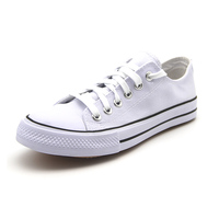 Fresh low cut white casual shoes flat canvas sneakers for mens
