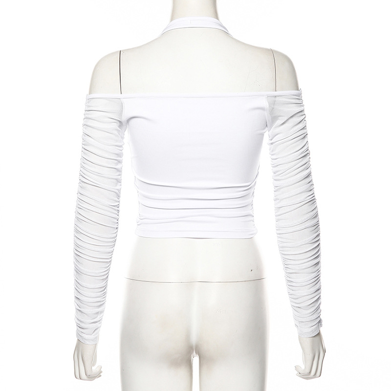 Deep V Neck Front Zipper Pleated Cropped Low Cut Women Blouse White Sexy Top