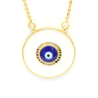 Vogue gold brass zircon charms high quality smooth blues eyes stainless steel chains necklace