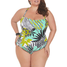 Plus Size Shirred One Piece Swimwear Manufacturer Classic U-Neck Beachwear Swimsuit