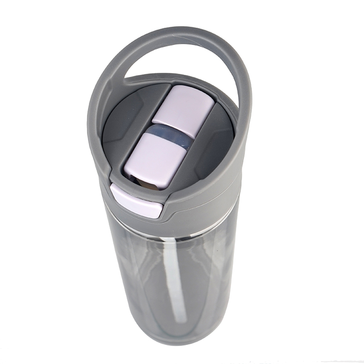 wholesales customize color grey 600ml/20oz button bounce straw lid plastic tritan water bottle with stabilize bottom cover