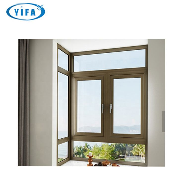 Alibaba China grille design french Aluminum double open half round white Casement Window for living room