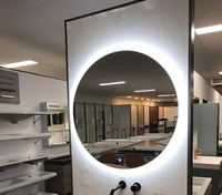 Defogger Round Backlit Mirror Hotel Bathroom Frameless Led Mirror Backlit