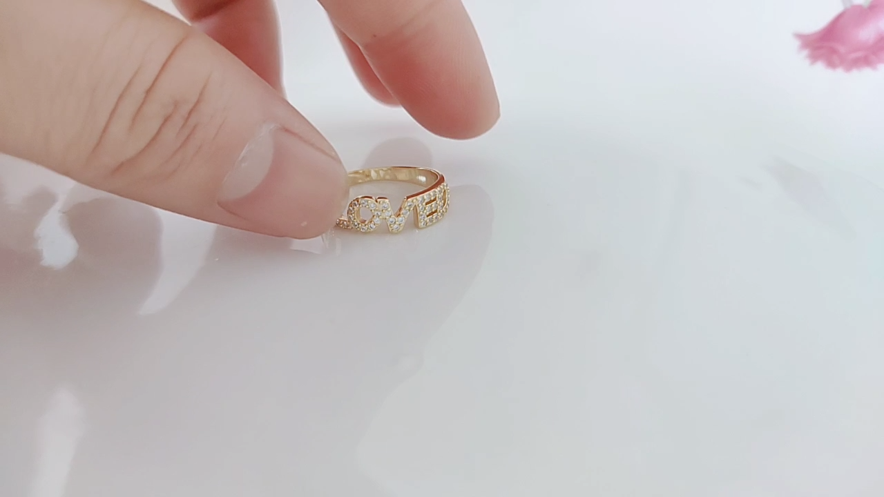 Dubai Sieraden Zware 925 Zilveren Pave Instelling Cz Ademen Gelukkig Hield Brief Ring Goud