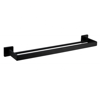 Amazon Hot Selling Towel Rack 304 Stainless Steel Black Matte Bathroom Double Bar Rack