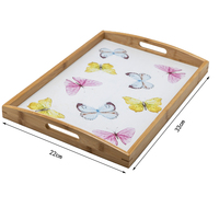 Manufacturers wholesale bamboo wooden right angle handle tray-samll tray