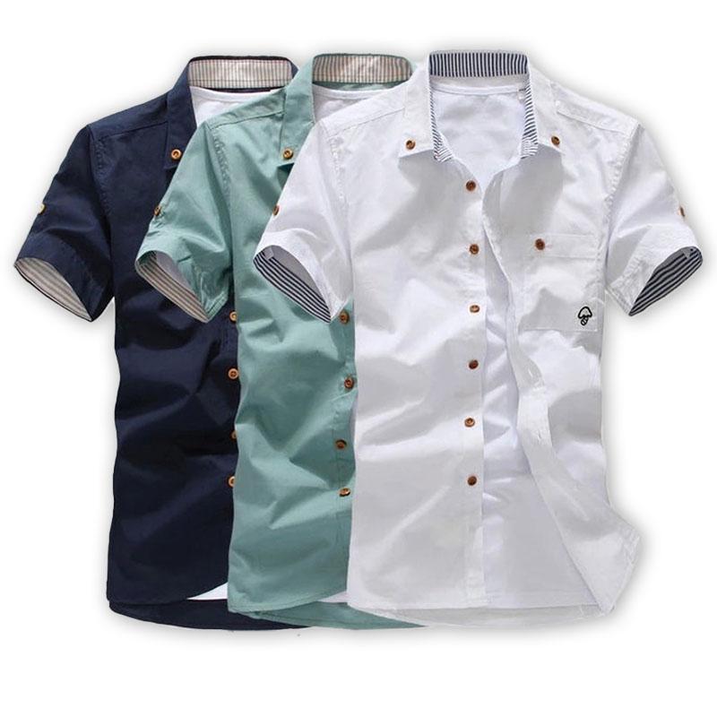 Men Shirt New Mushroom Embroidery Short Sleeve Shirt Thin Breathable Casual Shirts