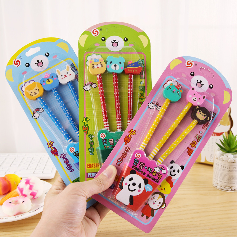 Gift Pencil Set Girls School Stationery Prizes Primary Secondary Students Cartoon Animal Model