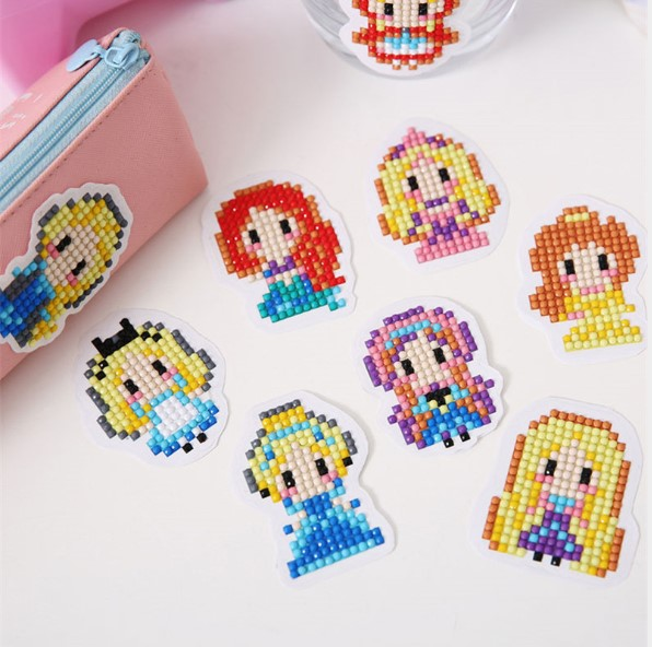 10pcs cartoon diamond painting kids DIY diamond stickers toy birthday gifts cup book decoration picture