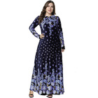 New 2019 Winter Abaya Muslim Dress Arabic Printed Velvet Pakistani Dubai Islamic Print Warm Navy Blue Dresses