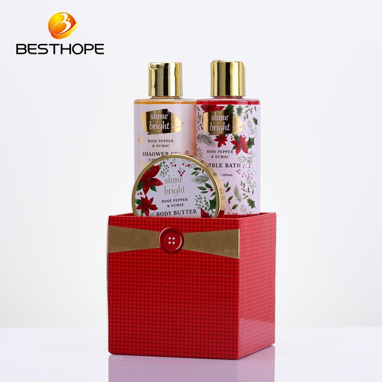 Private custom christmas body butter and lotion bath gift set in storage box