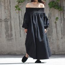 Женское платье с вырезом лодочкой EAM, белое длинное платье большого размера с длинным рукавом, весна-осень 2020(Китай)