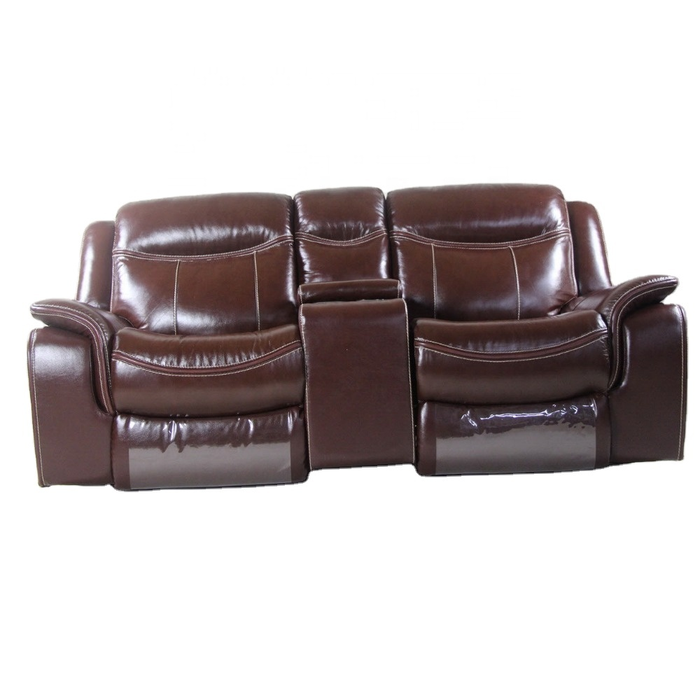 - America Style Brown Top Grain Leather Sofa Furniture,Home Cinema