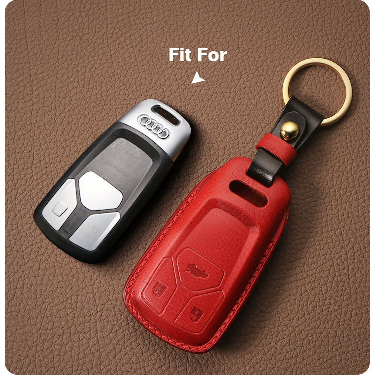 2019 NEW High Grade LeatherCraft Hand Sewing Genuine Leather Smart Car Key Case Bag Cover  for AUDI A4L/Q5L/A5/TTS/Q7