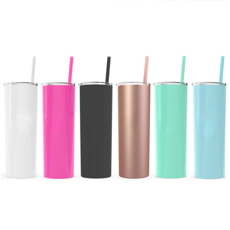 UCHOME 20oz skinny vacuum insulated stainless steel straight tumbler water bottle with lid transparent straw