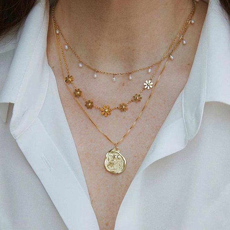 Daihe Gemnel dainty 18k plaqué or bijoux rétro pendentif fleur pièce collier de fleurs
