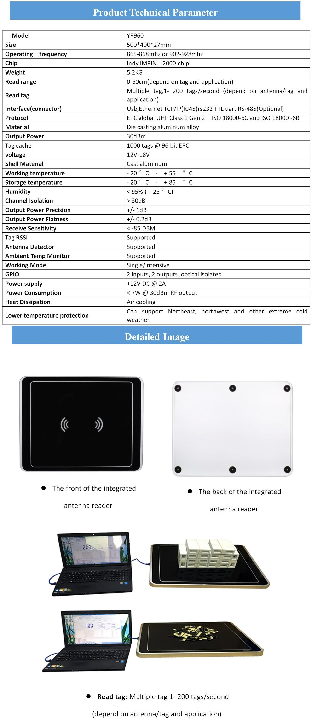 Short range rfid impinj r2000 chip reader 860-960mhz for rfid Multi-tag writer cards tag SAM antenna in asset Jewelry trace