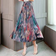 Лето 2020 женская новая Цветочная печать широкая нога размера плюс свободная юбка с высокой талией женские повседневные клетчатые брюки длин...(Китай)