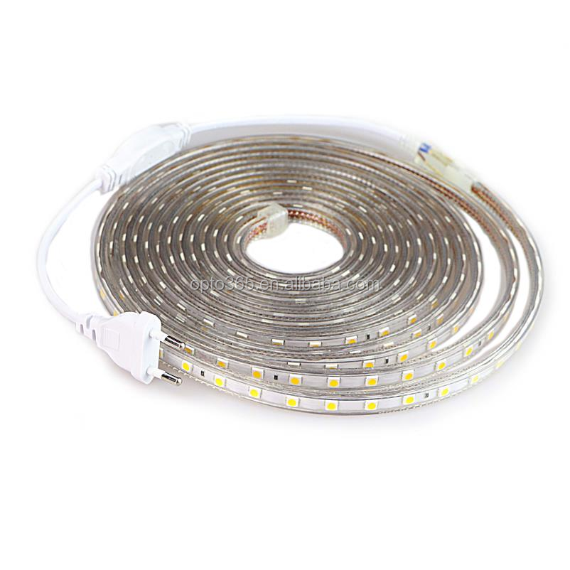 SMD 5050 AC 220V LED Strip Outdoor Tahan Air 5050 LED Strip 220V SMD 5050 LED Strip Lampu 1M 5M 10M 20M 25M 50M 100M 220V