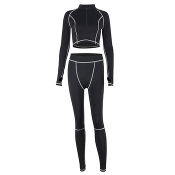 JULY1   Fitness Casual Active Wear 2 Piece Set Women Sporty Workout Zipper Long Sleeve Top And Leggings Sets Fashion