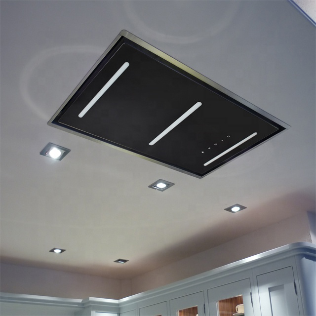 LED glass ceiling kitchen cooker hood