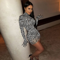 Fashion The Five Fingers Design Leopard Print Long Sleeve Bodycon Dress For Women Party Clothing