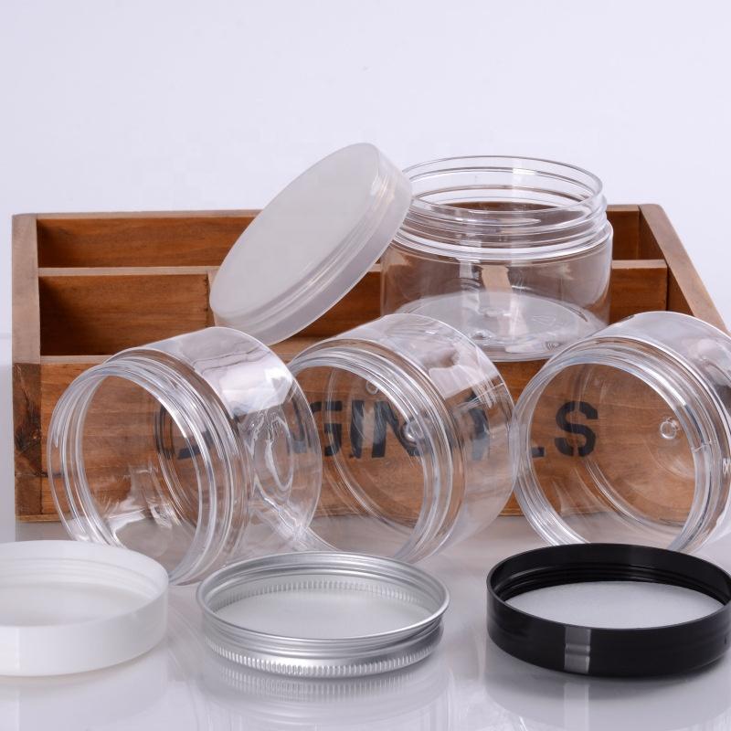 100ml 150ml 200ml 250ml 300ml clear amber black pet plastic cosmetic cream jar with plastic aluminum lid for cosmetic packaging