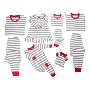 2019 100% cotton round neck grey stripe matching infant children sets women cheap christmas family pajamas