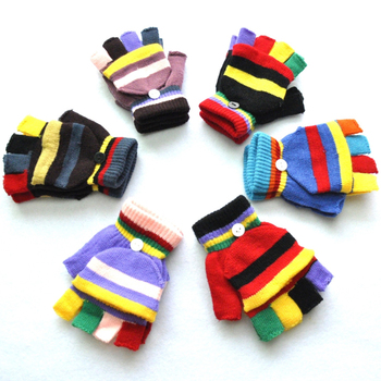 Mens & Womens Warm Soft strip Fingerless Half Finger Stretchy Knitted Gloves
