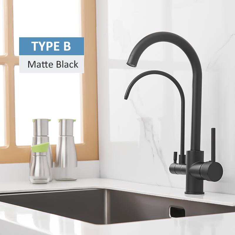 Quyanre матовый черный фильтрованный кран для кухни выдвижной спрей 360 Вращение водопроводный фильтр три способа смеситель для раковины кухон...(Китай)