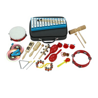 In china can produce musical percussion instrument metallophone tambourine set wooden craft maraca