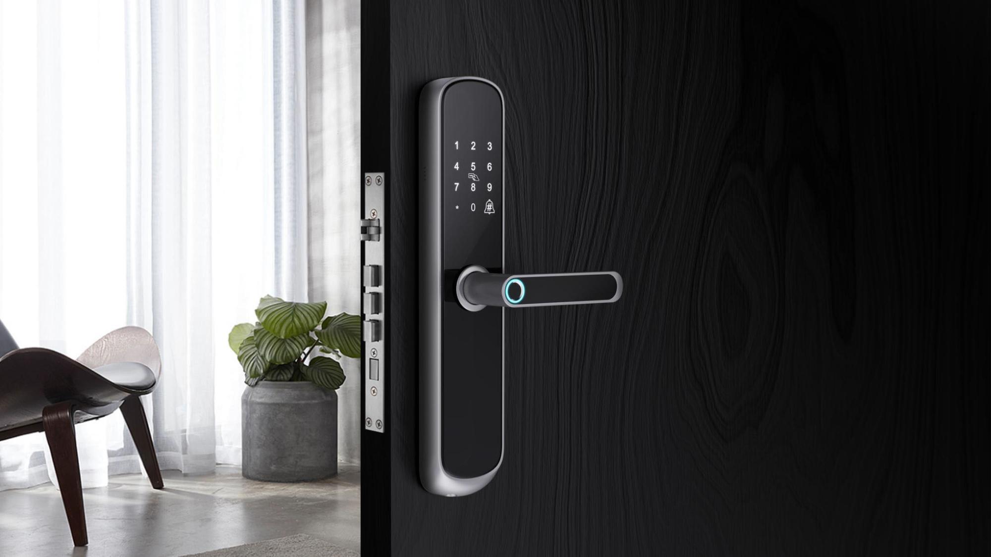 Headen العلامة التجارية تويا قفل باب ذكي مع التطبيق الهاتف وغير القابل للصدأ هيكل القفل المعدنى